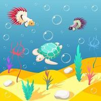 Inhabitants Of Underwater World Background Vector Illustration