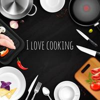 Love Cooking Realistic Background Vector Illustration