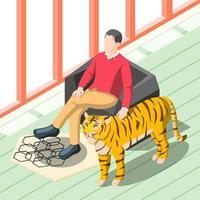 Rich Man Patting Tiger Vector Illustration