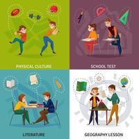 School Students Cartoon Design Concept Vector Illustration