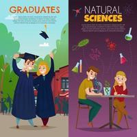 School Students Cartoon Banners Vector Illustration
