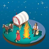 Gypsy Overnight Stay Isometric Composition Vector Illustration