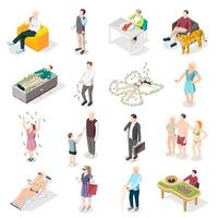Rich People And Rich Life Isometric Icons Vector Illustration