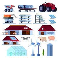 Ilustración de vector de conjunto plano ortogonal de agricultura inteligente