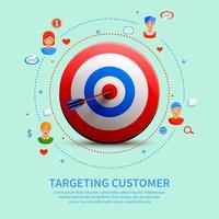 Targeting Customer Round Composition Vector Illustration