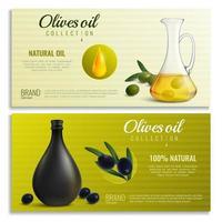 Banners de aceite de aceitunas realistas ilustración vectorial vector
