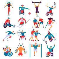 personas discapacitadas deporte conjunto plano ilustración vectorial vector
