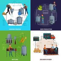 Ilustración de vector de concepto de diseño de dibujos animados de producción de cerveza