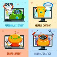Chat Bot Flat Design Concept Vector Illustration