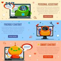 chat bot banners planos vector illustration