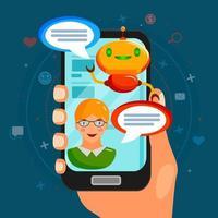 Chat Bot Flat Composition Vector Illustration