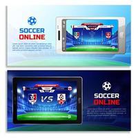 Ilustración de vector de banners de transmisión en línea de fútbol