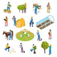 Farm Life Isometric Set Vector Illustration