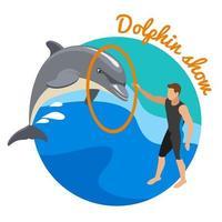 Ilustración de vector de concepto de diseño redondo de espectáculo de delfines