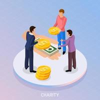 Fundraising Isometric Background Concept Vector Illustration