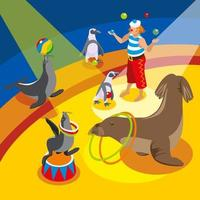 Sea Circus Isometric Composition Vector Illustration