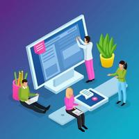 Workspace Interfaces Isometric Composition Vector Illustration