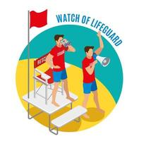 Watch Of Lifeguard Round Design Concept Vector Illustration