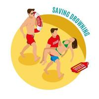 Saving Drowning Round Design Concept Vector Illustration