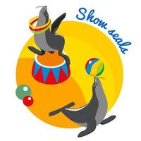Seals Show Round Design Concept Vector Illustration