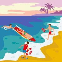 Beach Lifeguards Isometric Poster Vector Illustration