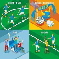 Ilustración de vector de concepto de diseño isométrico de fútbol 2x2