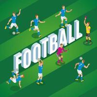 Ilustración de vector de cartel isométrico de fútbol
