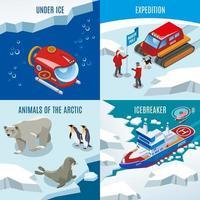 Ilustración de vector de concepto de diseño isométrico de investigación ártica