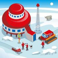 Arctic Polar Station Isometric Illustration Vector Illustration