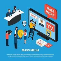 News Agency Isometric Background Vector Illustration