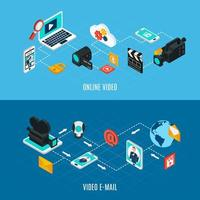 Video Streams Isometric Banners Vector Illustration