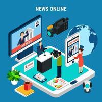 News Room Online Composition Vector Illustration