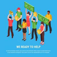 People Ready For Help Isometric Poster Vector Illustration