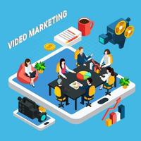 Video Business Meeting Composition Vector Illustration