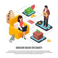 Donation Online For Charity Vector Illustration