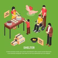 Shelter Isometric Poster Vector Illustration