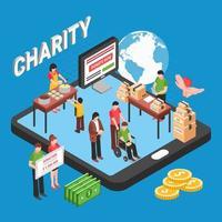 Ilustración de vector de concepto de diseño isométrico de caridad