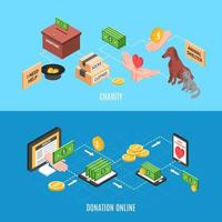 Charity Isometric Banners Vector Illustration