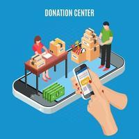 centro de donación isométrica ilustración vectorial de fondo vector