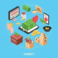 Charity Isometric Design Concept Vector Illustration