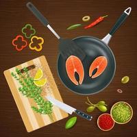 Ilustración de vector de ilustración de vista superior de utensilios de cocina