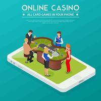 Casino Online Isometric Composition Vector Illustration