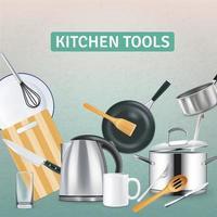 Ilustración de vector de fondo de suministros de cocina realista