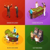 Ilustración de vector de diseño de concepto isométrico de casino