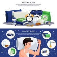 Healthy Sleep Horizontal Banners Vector Illustration