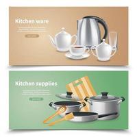 Ilustración de vector de banners de suministros de cocina realista