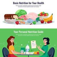 Diet Horizontal Banners Vector Illustration