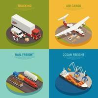 Cargo Transportation Isometric Design Concept Vector Illustration
