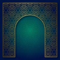 Traditional patterned background with golden arched frame vector