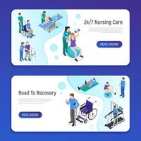 Physiotherapy Isometric Banners Vector Illustration
